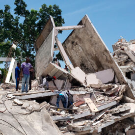 The back side of the residence of the Catholic bishop is damaged after an earthquake in Les Cayes, Haiti, Saturday, Aug. 14, 2021. (AP Photo/Delot Jean)
